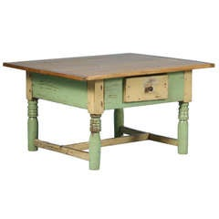 Antique Original Painted Light Green Coffee Table with Pine Top