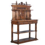 French Carved Antique Marble Top Server Buffet