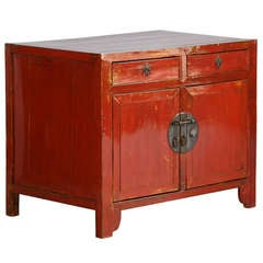 Antique Small Red Lacquered Chinese Sideboard