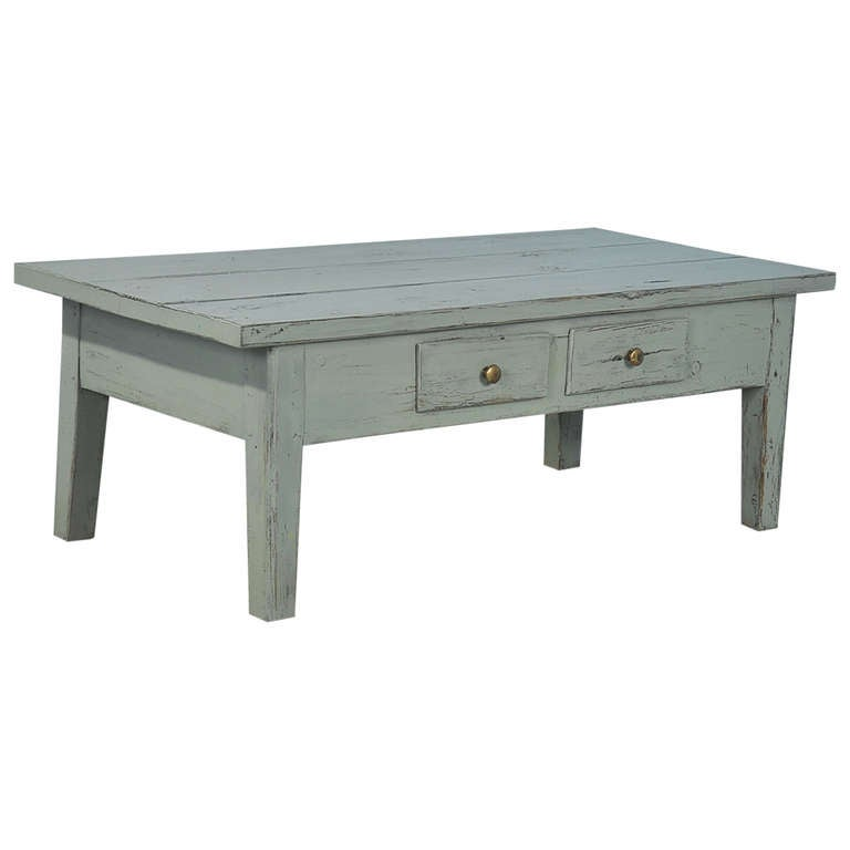 Antique Painted Two Drawer Coffee Table, Sweden, Circa 1860 For Sale