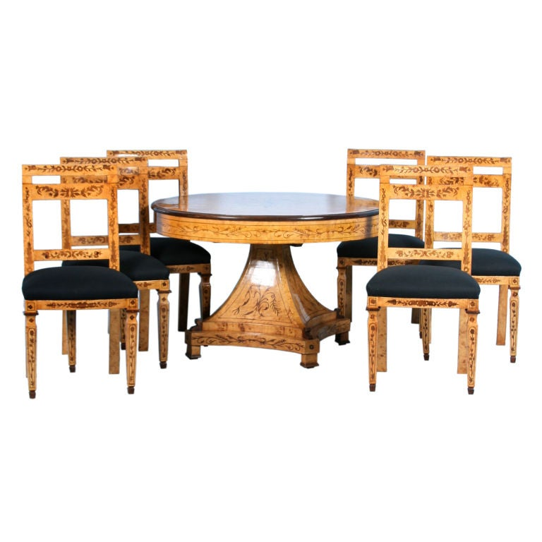 biedermeier style birch table and six chairs is no longer available
