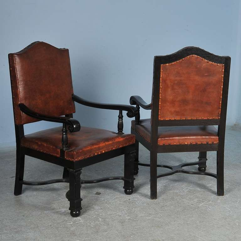 this antique set of 12 leather dining room chairs is no longer