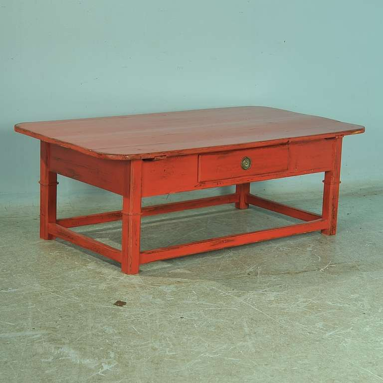 Painted Retro Coffee Table: Antique Red Painted Coffee Table, Denmark, Circa 1880 At
