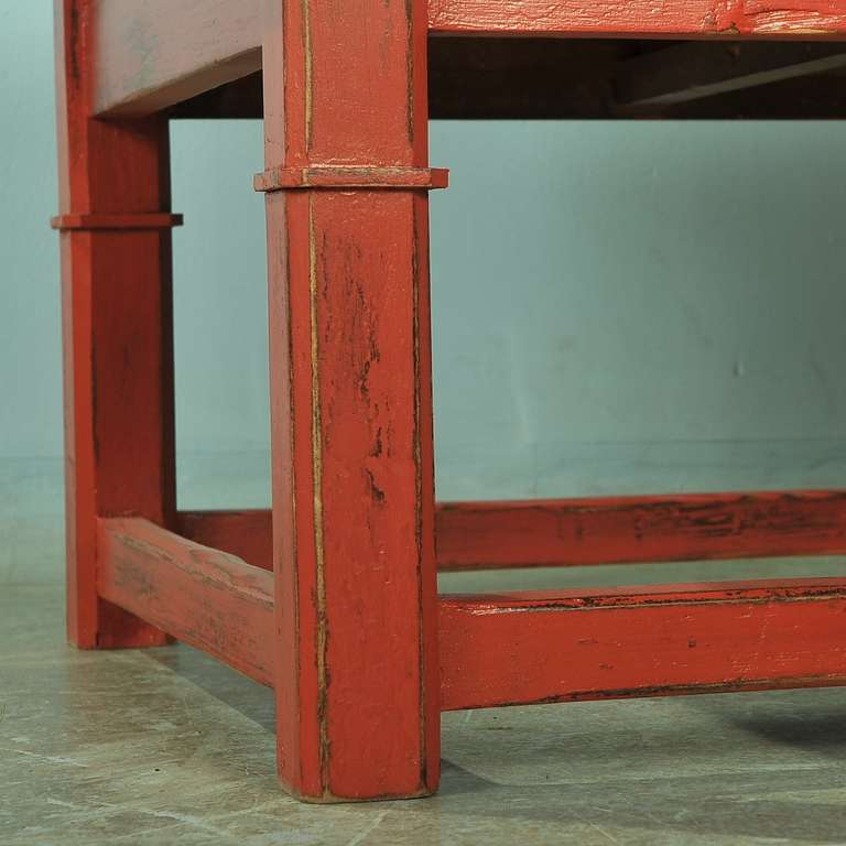 Antique Red Painted Coffee Table, Denmark, Circa 1880 At