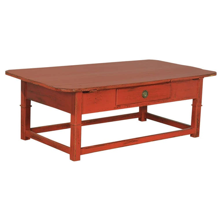 Antique Red Painted Coffee Table, Denmark, Circa 1880 For Sale