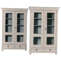 Pair of Antique Matching Set of Two Soft Gray Bookcases, Sweden, circa 1880