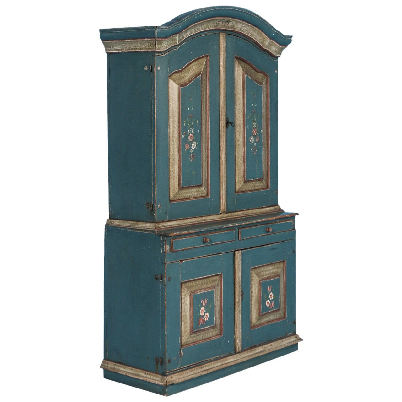 Antique Blue Painted Swedish Cabinet Dated 1792 At 1stdibs