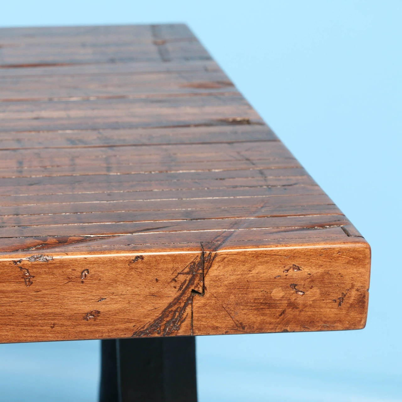Rustic Writing Or Kitchen Table Made From Reclaimed Wood And Cast Iron Legs For 2