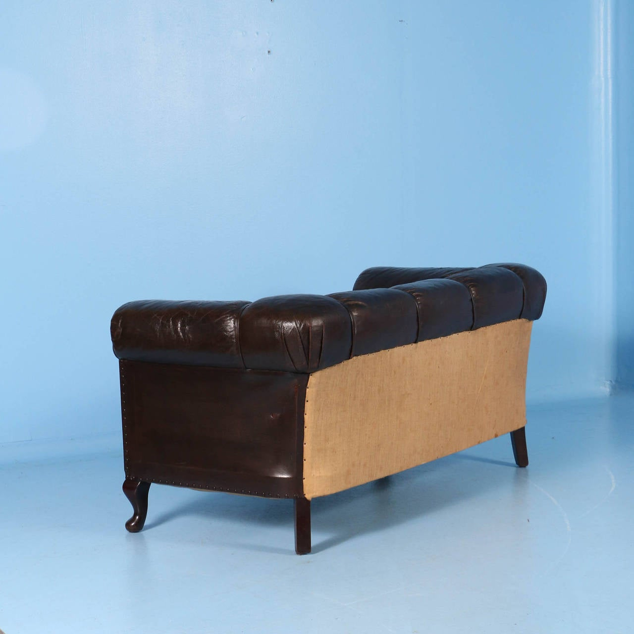 Blue leather chesterfield sofa at 1stdibs - Small Vintage Chesterfield Sofa England Circa 1920 1940 3