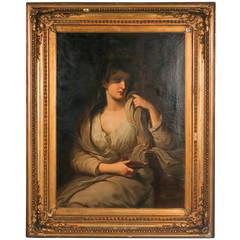 Portrait of Vestal Virgin, Large Original Oil on Canvas Framed