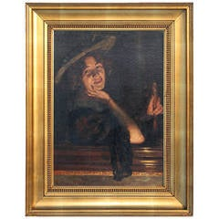 Portrait of Smiling Woman, Original Oil on Canvas Laid on Board, Signed
