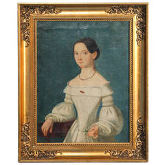 Antique, Framed Original Oil on Canvas Portrait of Young Woman circa 1800