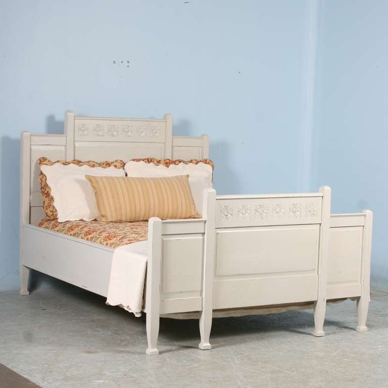 antique queen swedish bed with painted finish 2 - Antique Queen Bed Frame