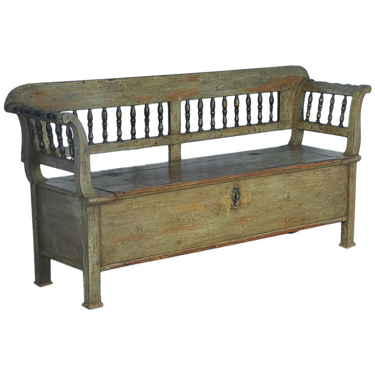 Antique Original Green Painted Bench With Storage Dated