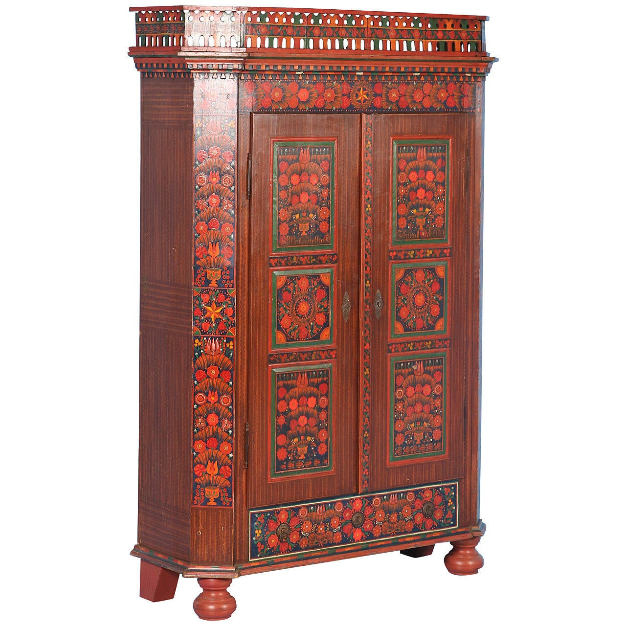 Antique Highly Painted Armoire, Hungary Circa 1910 For Sale