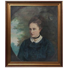 Original Oil on Canvas, Portrait of Young Woman, circa 1900s