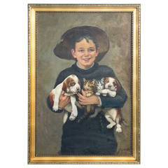 Boy with Puppies and Kittens, Original Oil Painting on Canvas Signed Oswald