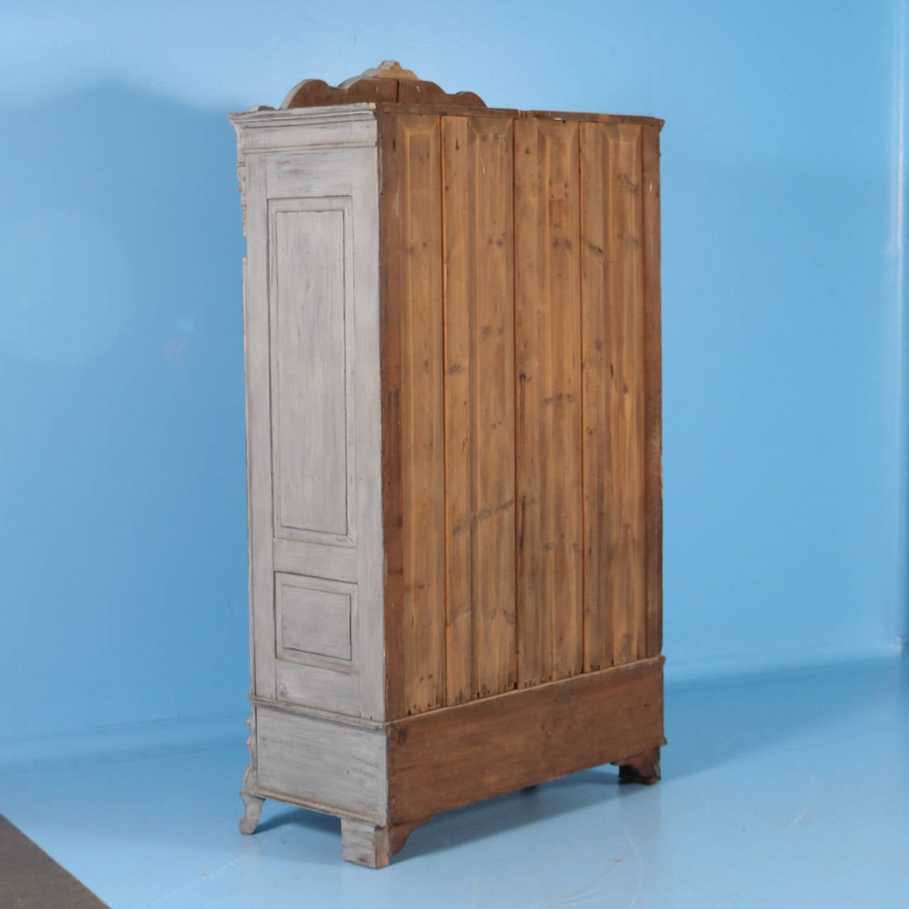 Antique Painted Swedish Armoire With Carved Detail, Circa