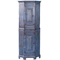 Antique Narrow Swedish Gustavian Blue Corner Cabinet, circa 1840