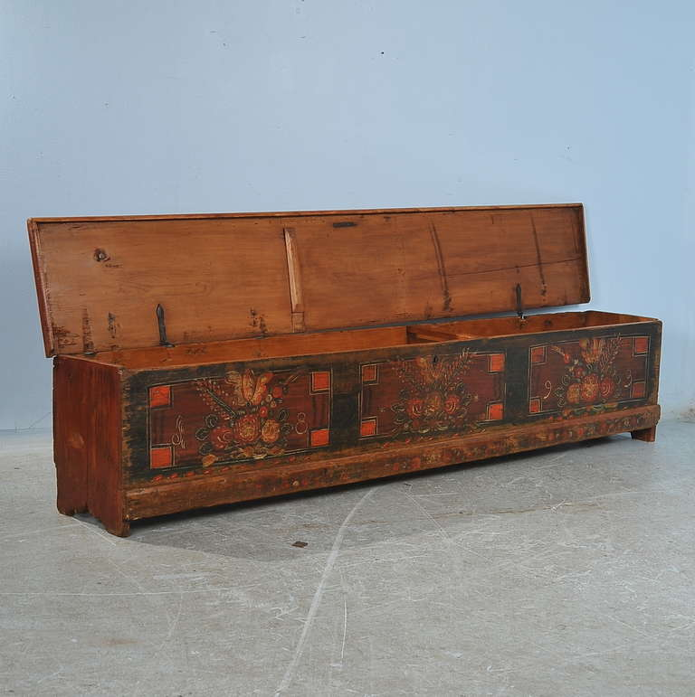 Antique Original Painted Extra Long Trunk Or Bench Romania Dated 1893 Image 2