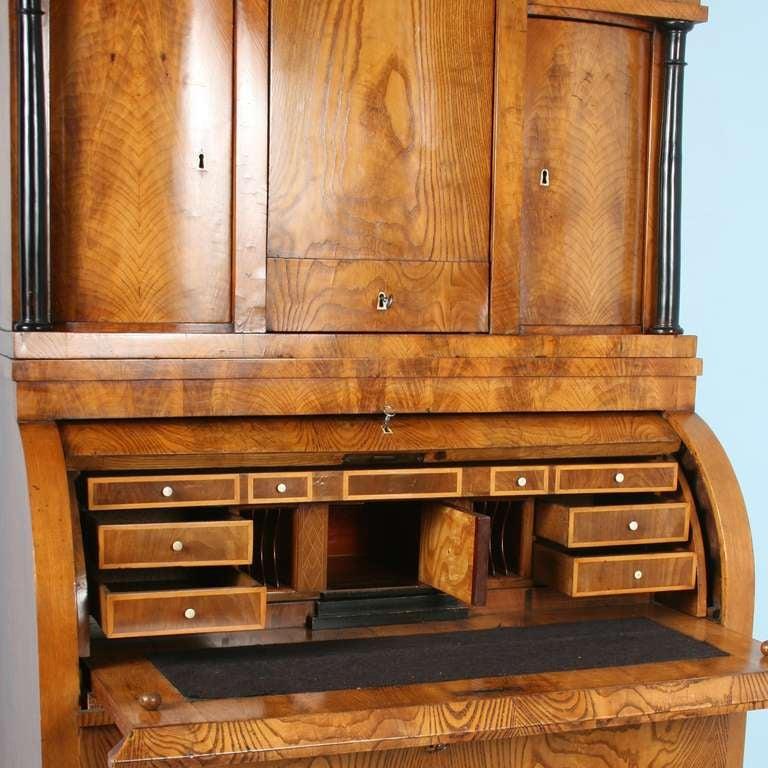 Antique Biedermeier Elmwood Secretary With Hidden Compartments