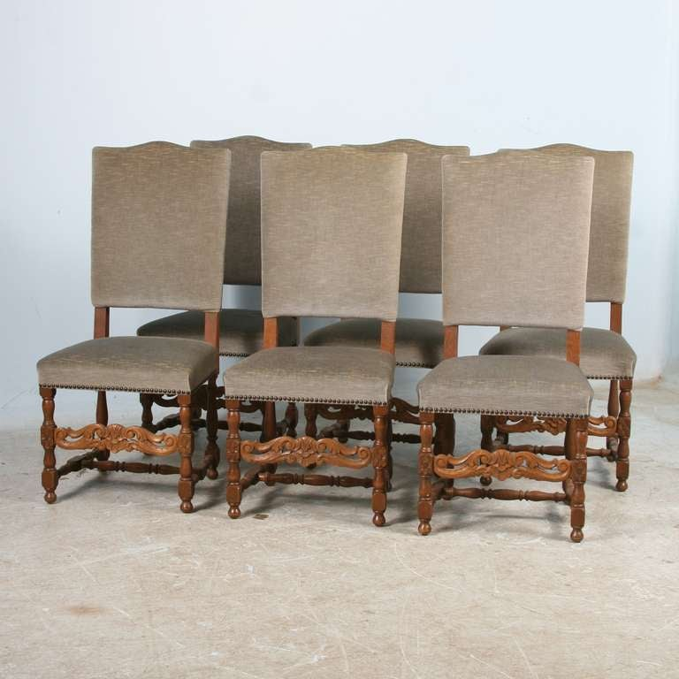 of 6 antique danish baroque high back dining room side chairs image 2