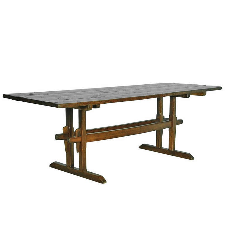antique pine trestle farmhouse table at 1stdibs