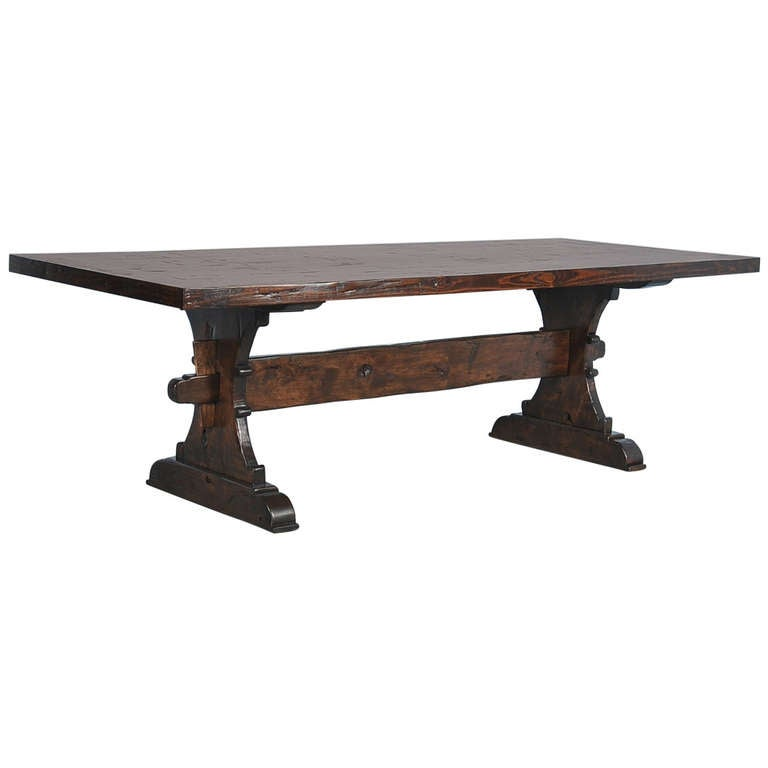 large farmhouse trestle dining tables made from reclaimed