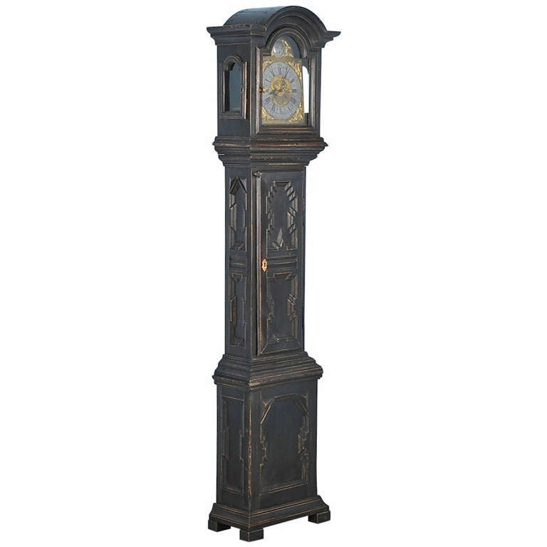 Antique Black Grandfather Clock, Denmark, circa 1820-1840