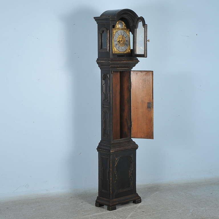 Danish Antique Black Grandfather Clock, Denmark, circa 1820-1840
