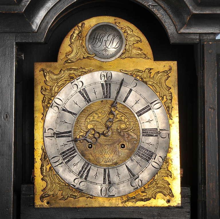 Antique Black Grandfather Clock, Denmark, circa 1820-1840 In Good Condition In Round Top, TX
