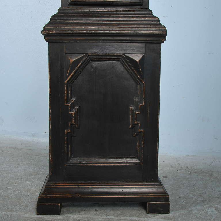 Antique Black Grandfather Clock, Denmark, circa 1820-1840 3