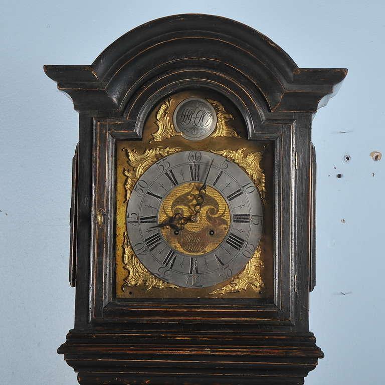 Wood Antique Black Grandfather Clock, Denmark, circa 1820-1840