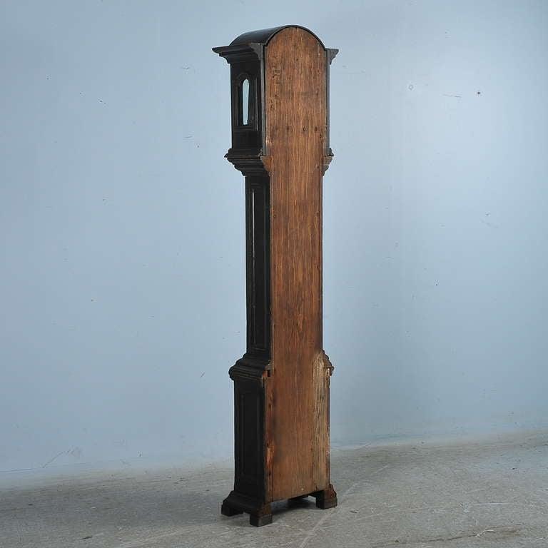Antique Black Grandfather Clock, Denmark, circa 1820-1840 4
