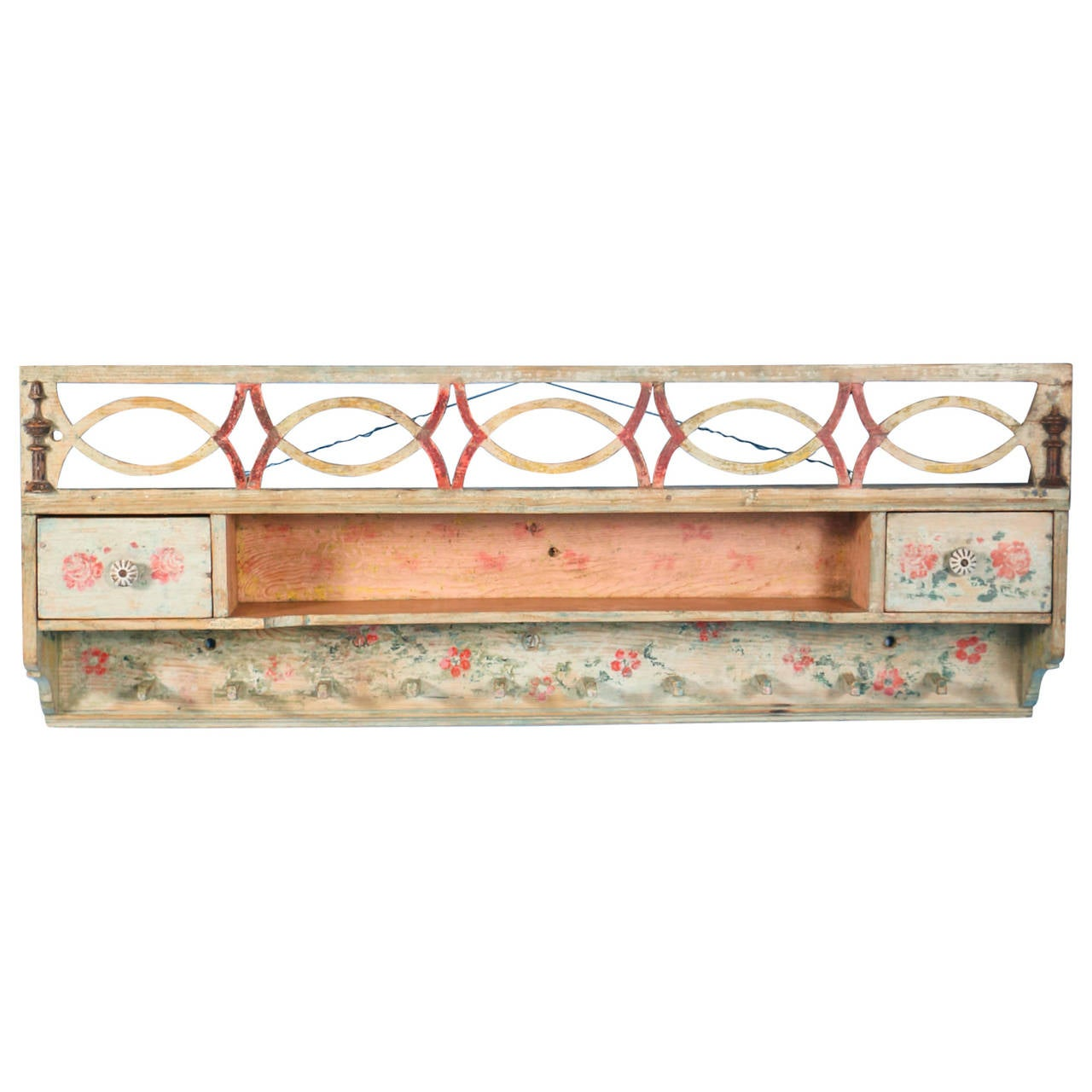 Antique Original Painted White Hanging Rack Shelf With