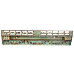 Original Painted Green Hanging Shelf Rack with Flowers and  Birds,1860-1880