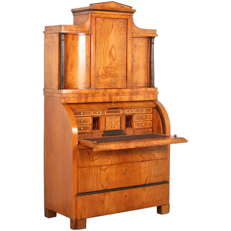 Antique Biedermeier Elmwood Secretary With Hidden