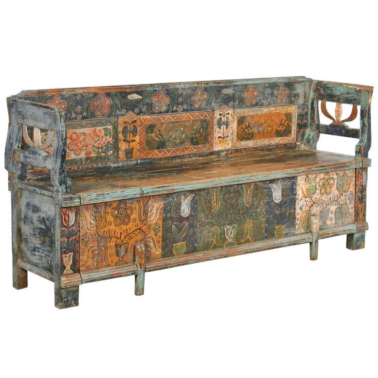 Antique Original Painted Bench With Storage Ca 1880 At