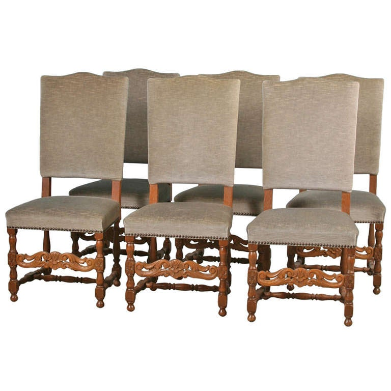 set of 6 antique danish baroque high back dining room side chairs at