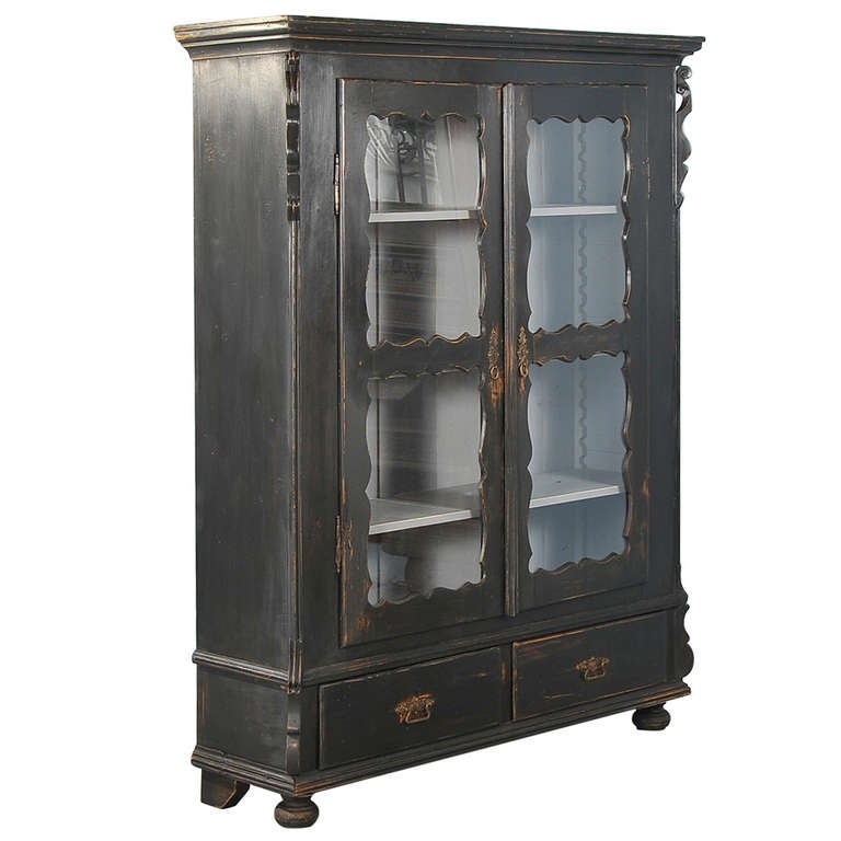 Antique Russian Black Bookcase Cabinet With Adjustable