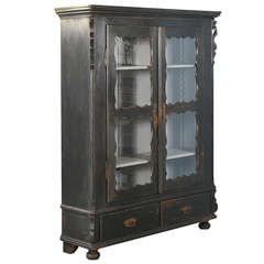 Antique Russian, Black Bookcase Cabinet with Adjustable Shelves