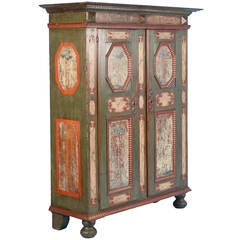 Large Antique Original Painted Green Armoire with Tree Silhouettes, circa 1760