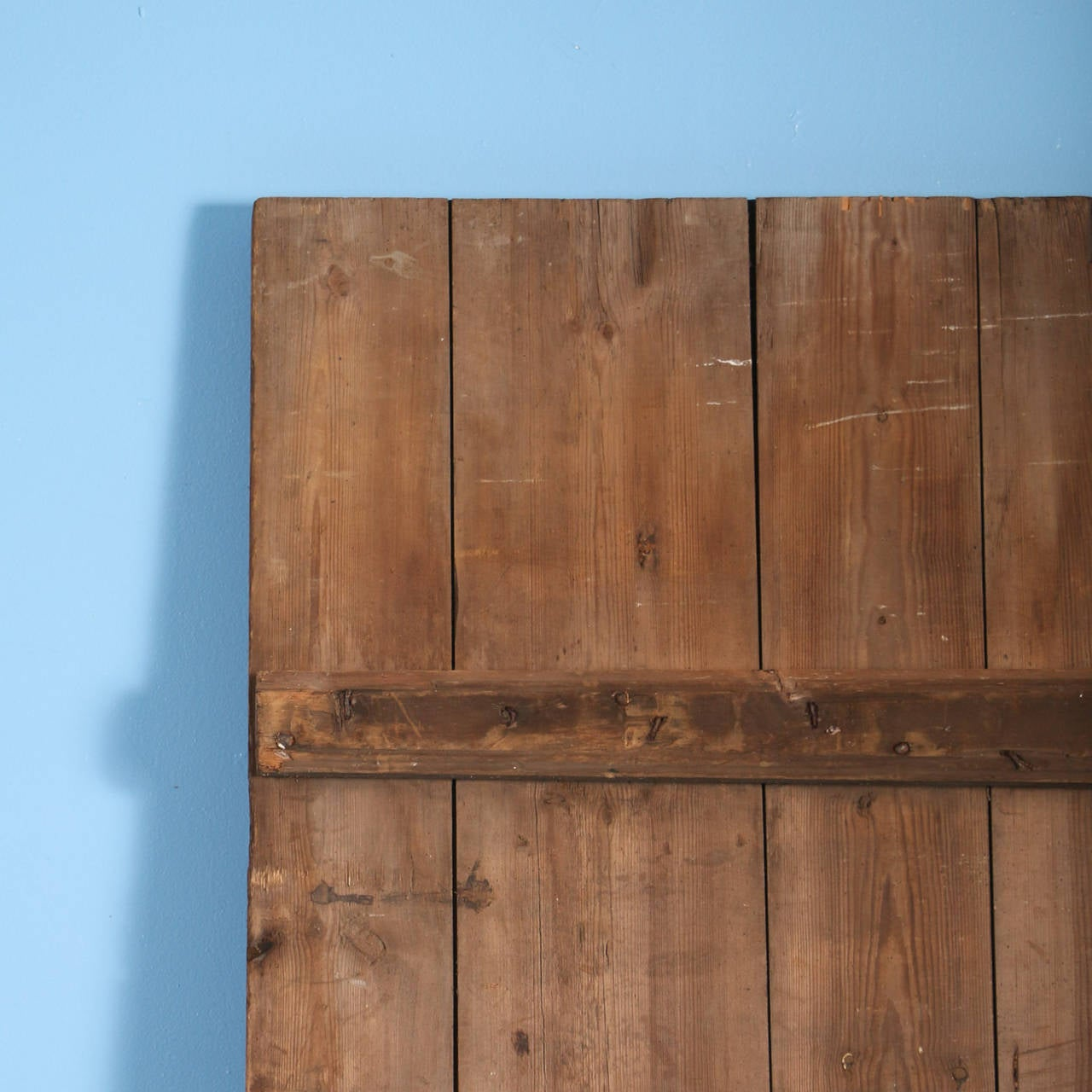 Large antique barn door ideal to hang as sliding door for Hanging a sliding barn door