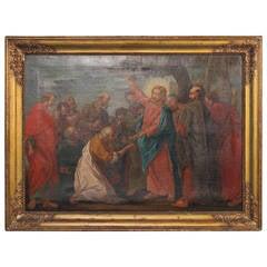 Original Oil on Canvas, Jesus Handing Keys to Peter, circa 1700s