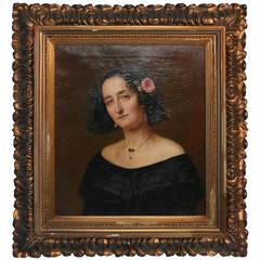 Original Oil on Canvas Portrait of Fanny Magdalena of Eckenbrecher,1800's