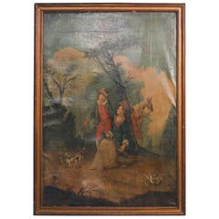 Large Original Oil on Canvas Painting, Young Man and Woman Afield, circa 1700s
