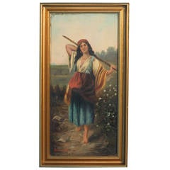 """Original Oil on Canvas, Young Gypsy Woman with Stick, Signed """"Malasin"""""""