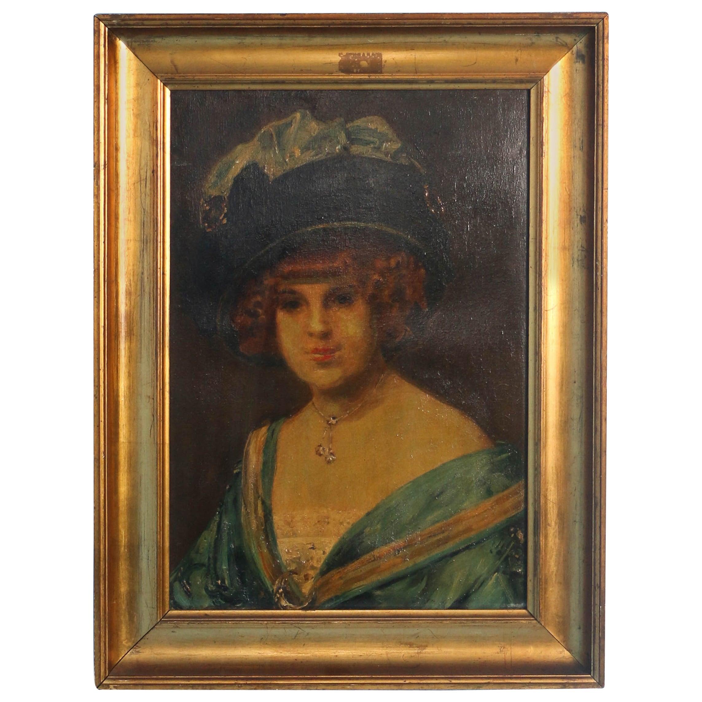 "Original Oil on Canvas Portrait of Woman,""Edith"", by Holger Drachmann"