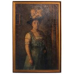 Original Oil on Canvas Portrait of Woman in Blue Dress, Signed Vigeland, 1909