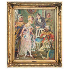Original Oil on Canvas Painting of Party Scene Signed by Jacob Von Tyboe